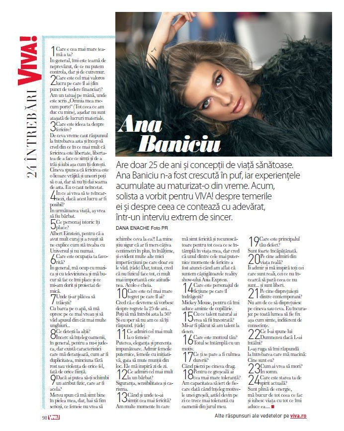 @ana_baniciu in @vivaromania this month! #decembre #questionnaire | foto: @lightaholic |…